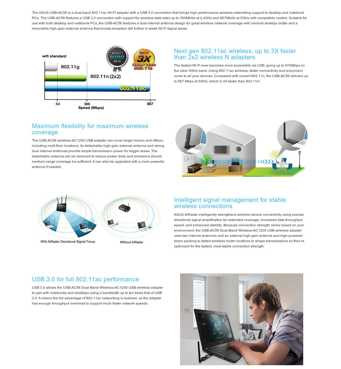 A large marketing image providing additional information about the product ASUS USB-AC56 802.11ac Dual-Band Wireless-AC1300 USB3.0 Adapter - Additional alt info not provided