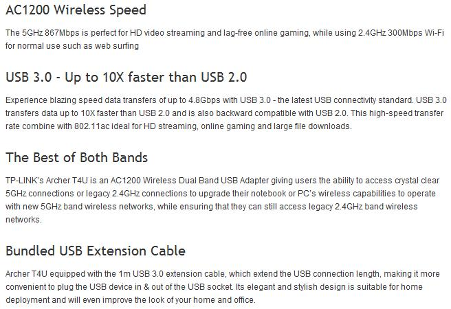 A large marketing image providing additional information about the product TP-LINK Archer T4U 802.11ac AC1300 Wireless Dual Band USB Adapter - Additional alt info not provided