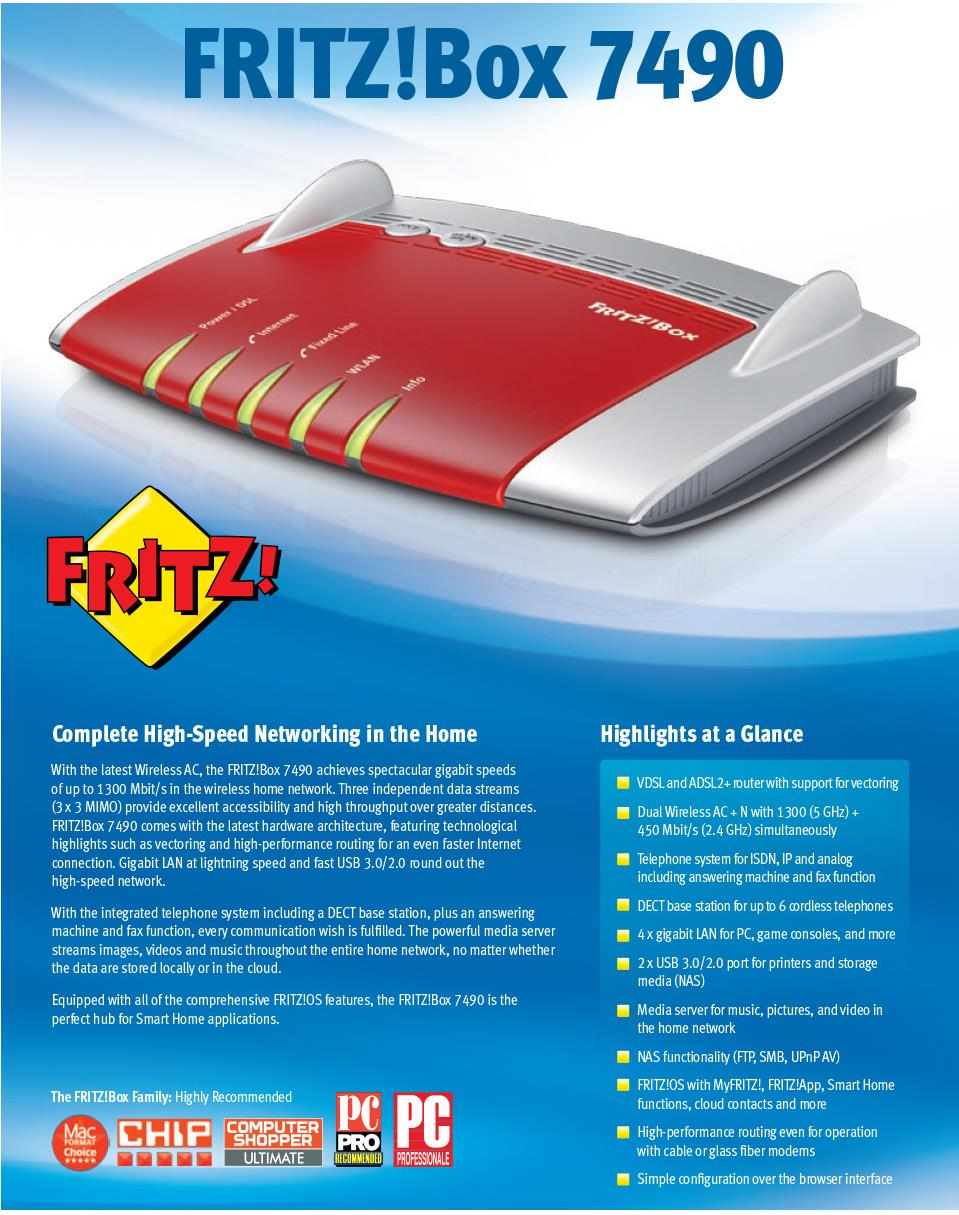 A large marketing image providing additional information about the product AVM FRITZ!Box 7490 Dual Band Wireless AC1300 VoIP Modem Router - Additional alt info not provided