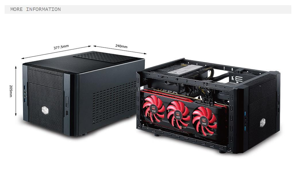 A large marketing image providing additional information about the product Cooler Master Elite 130 Black mITX Case - Additional alt info not provided