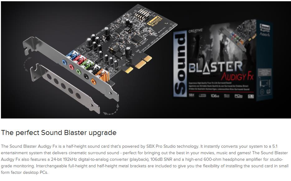 A large marketing image providing additional information about the product Creative Sound Blaster Audigy FX PCIe Sound Card - Additional alt info not provided