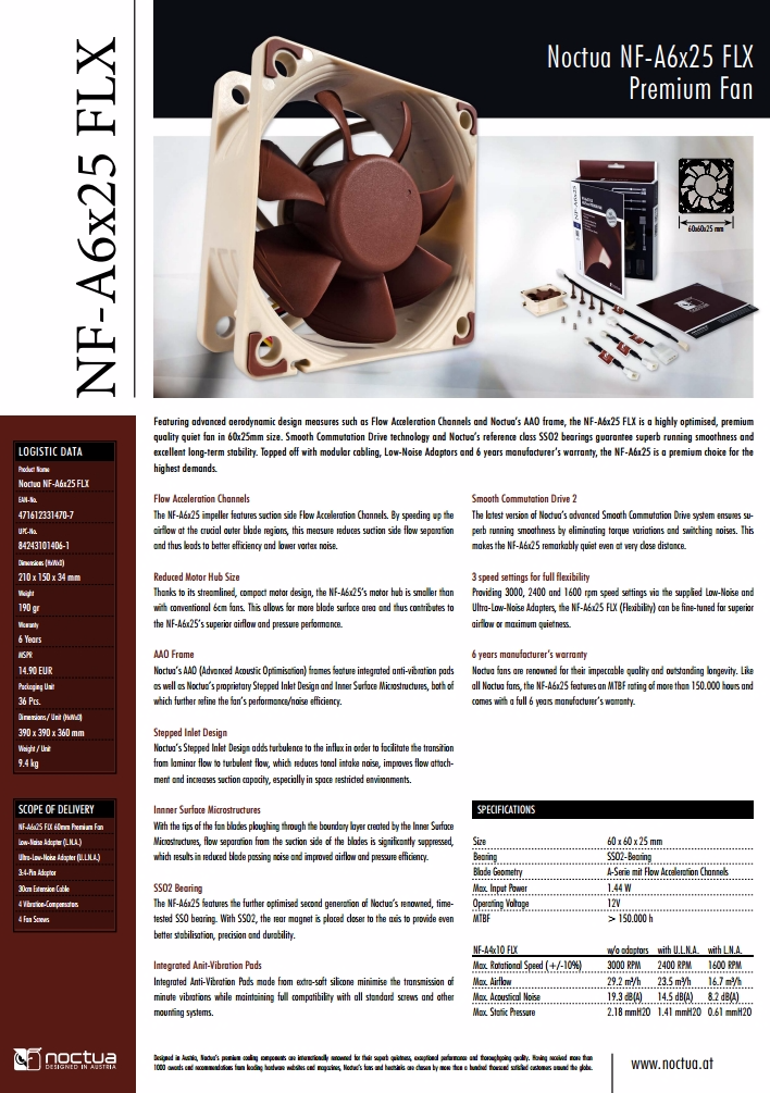 A large marketing image providing additional information about the product Noctua NF-A6x25 FLX 60mm 3000RPM Cooling Fan - Additional alt info not provided