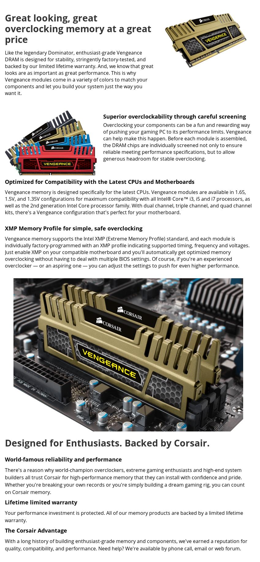 A large marketing image providing additional information about the product Corsair 16GB Kit (2x8GB) DDR3 Vengeance C9 1600MHz - Additional alt info not provided