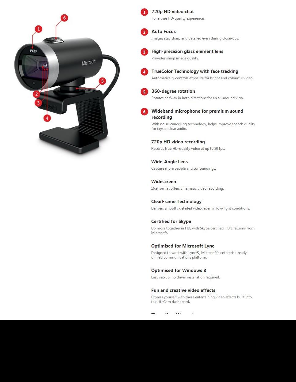 A large marketing image providing additional information about the product Microsoft LifeCam Cinema HD Webcam - Additional alt info not provided