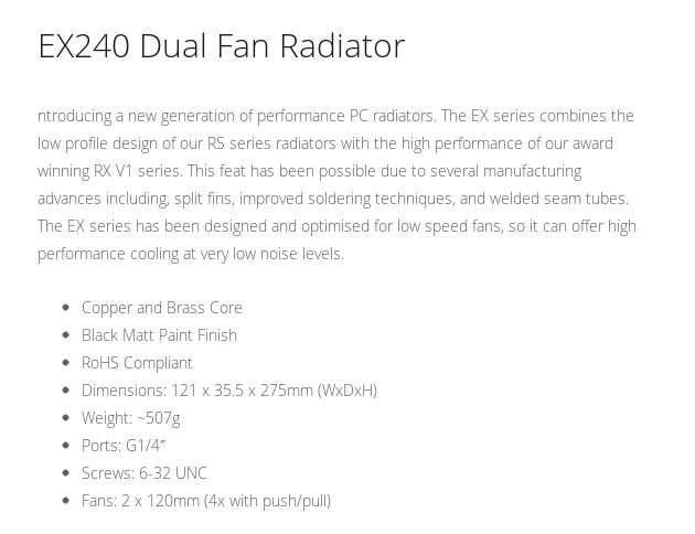 A large marketing image providing additional information about the product XSPC EX240 Dual Fan 240mm Radiator - Additional alt info not provided