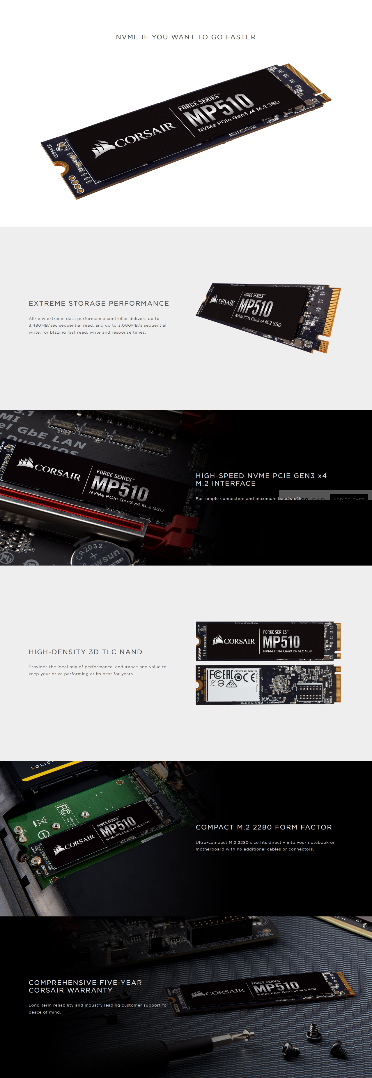 A large marketing image providing additional information about the product Corsair Force MP510 240GB M.2 NVMe PCIe Gen3 SSD - Additional alt info not provided