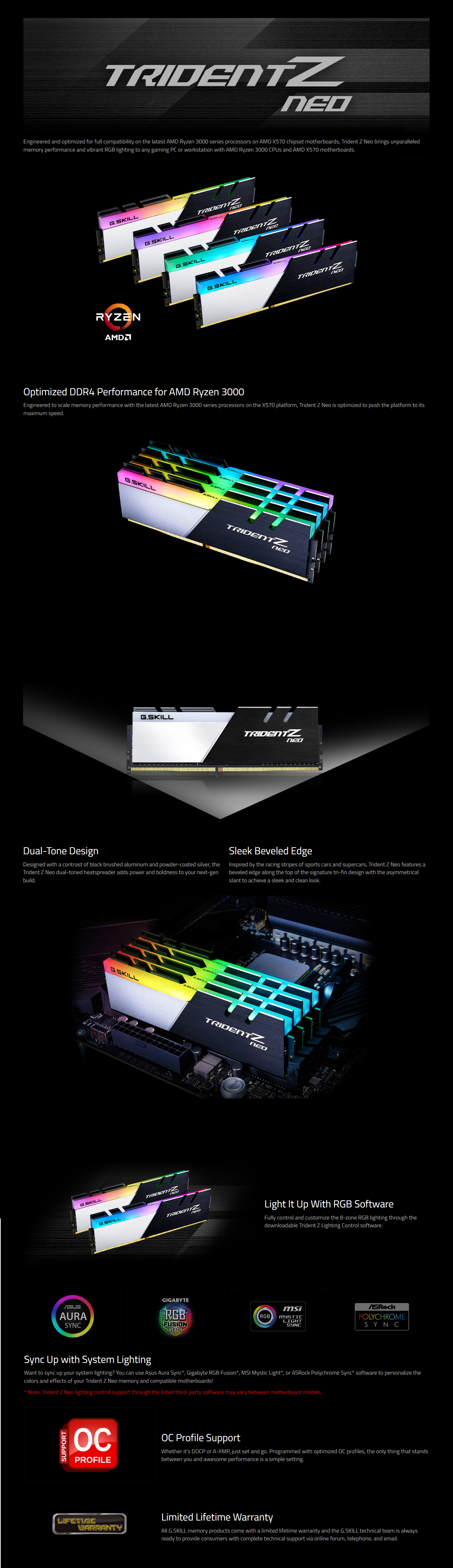 A large marketing image providing additional information about the product G.Skill 32GB Kit (4x8GB) DDR4 Trident Z RGB Neo C18 3600Mhz - Additional alt info not provided