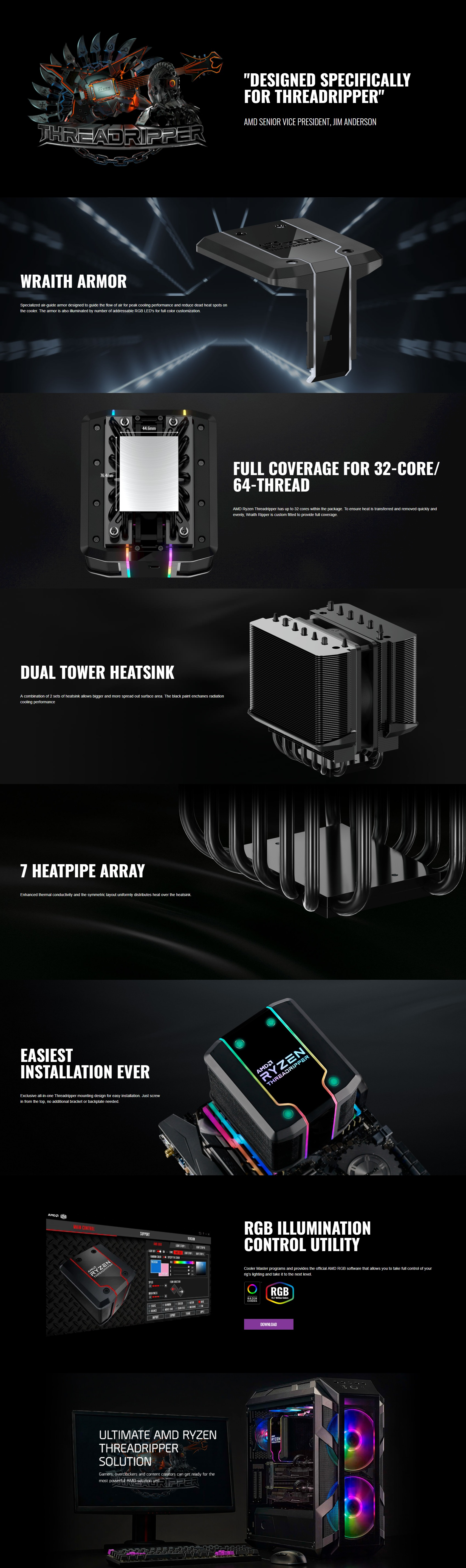 A large marketing image providing additional information about the product Cooler Master Wraith Ripper Addressable RGB AMD TR4 CPU Cooler - Additional alt info not provided