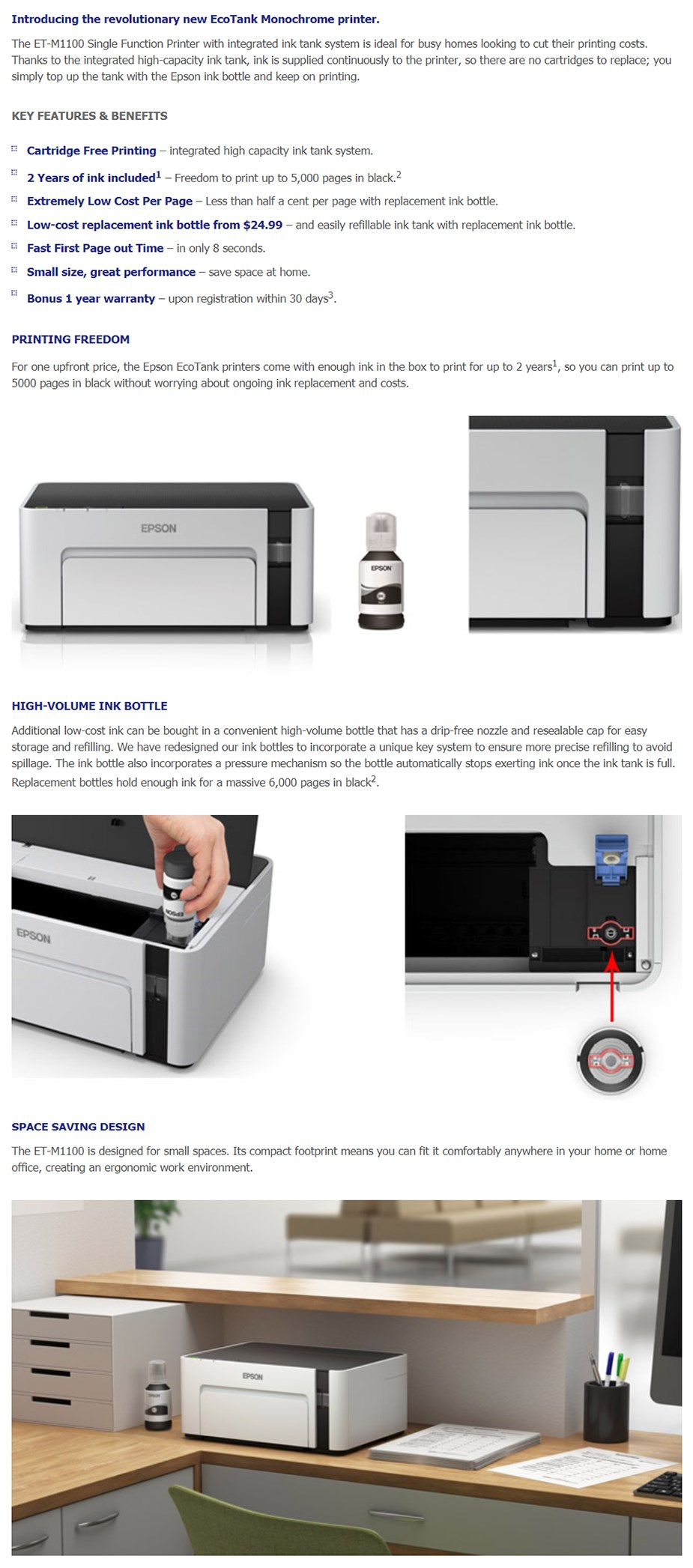 A large marketing image providing additional information about the product Epson EcoTank Mono ET-M1100 Printer - Additional alt info not provided