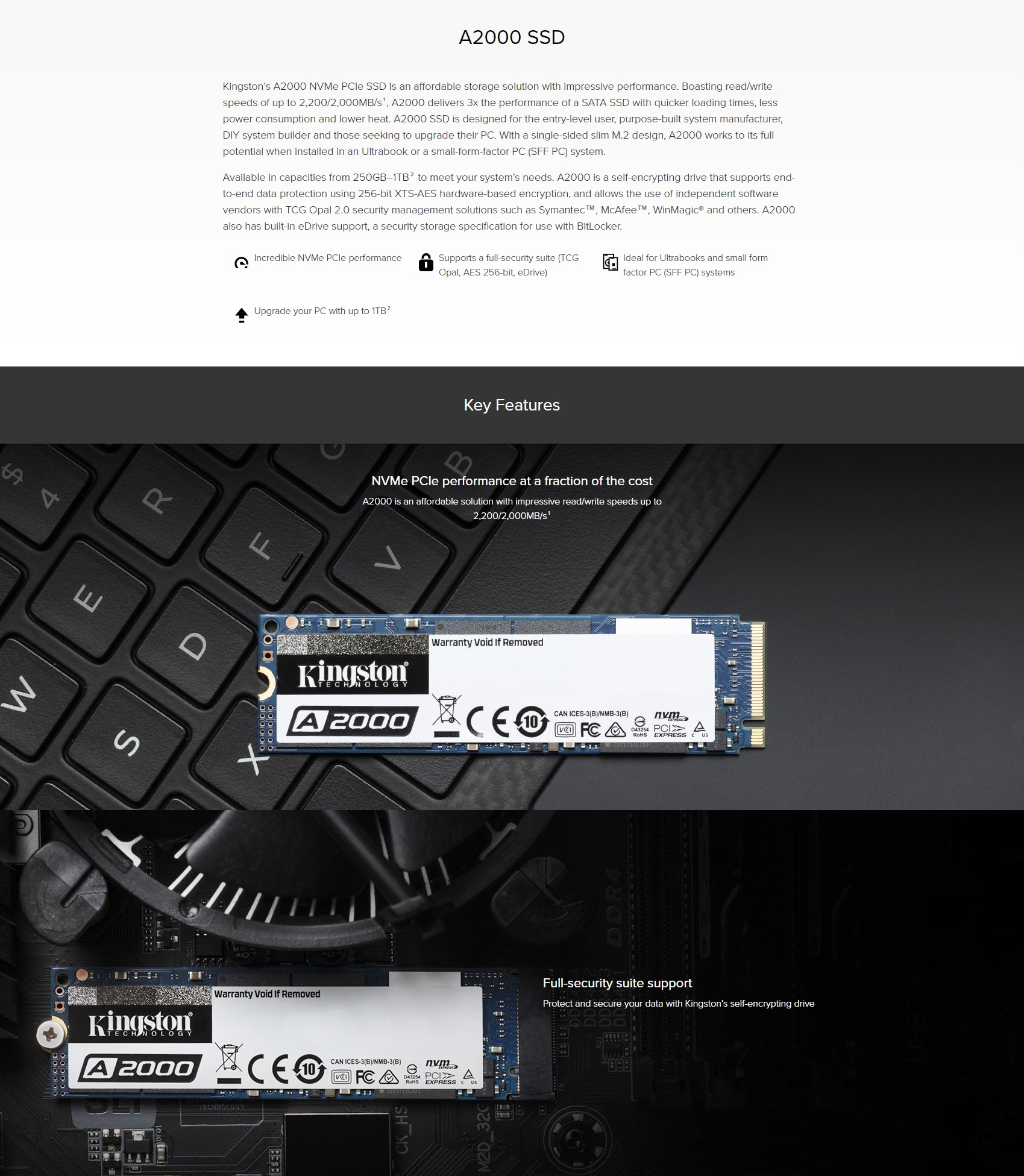 A large marketing image providing additional information about the product Kingston A2000 250GB NVMe M.2 SSD - Additional alt info not provided