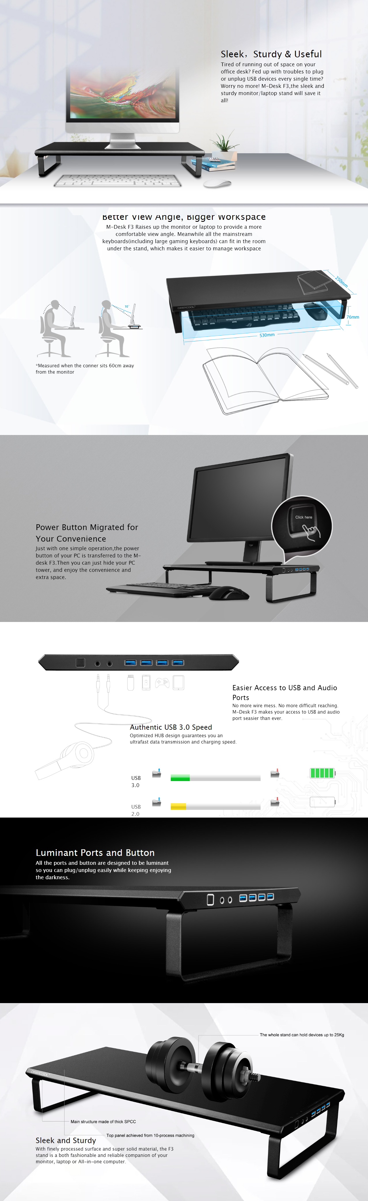 A large marketing image providing additional information about the product Deepcool M-DESK F3 Monitor Stand w/ USB 3.0 Hub - Additional alt info not provided