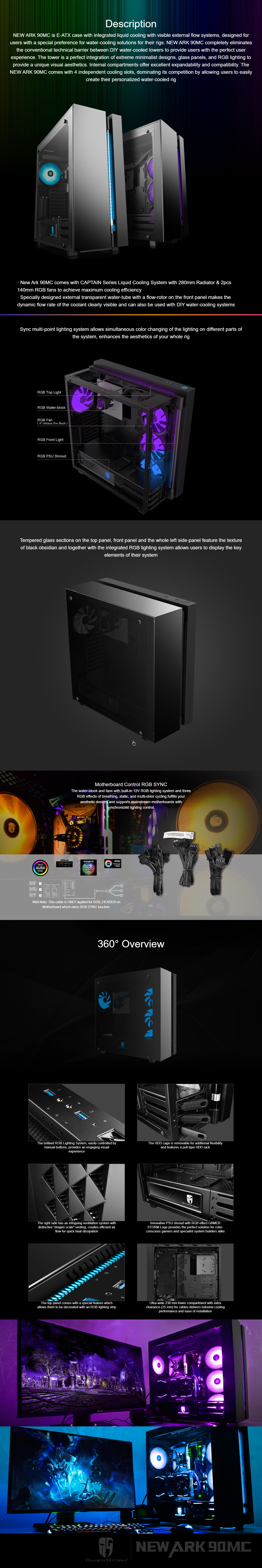 A large marketing image providing additional information about the product Deepcool ARK 90MC RGB Full Tower Case w/ AIO Liquid CPU Cooler - Additional alt info not provided