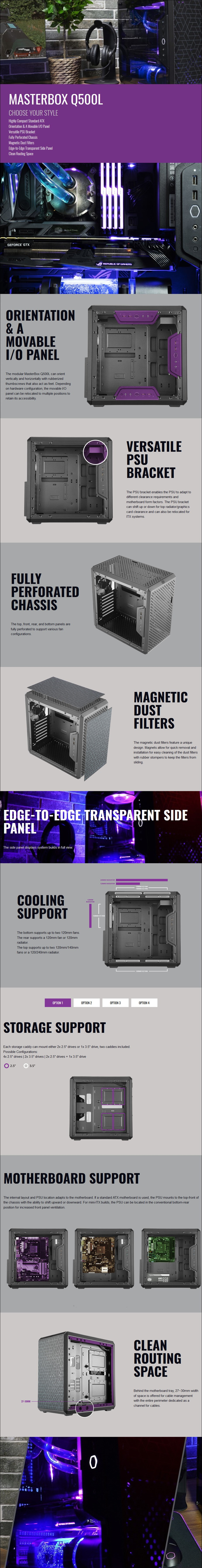 A large marketing image providing additional information about the product Cooler Master Q500L Mid Tower Case w/Acrylic Side Panel - Additional alt info not provided