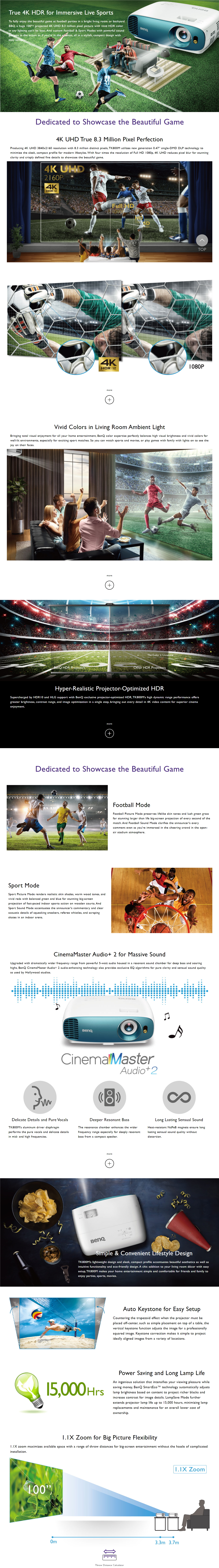 A large marketing image providing additional information about the product BenQ TK800M 3000LM 4K Home Entertainment Projector - Additional alt info not provided