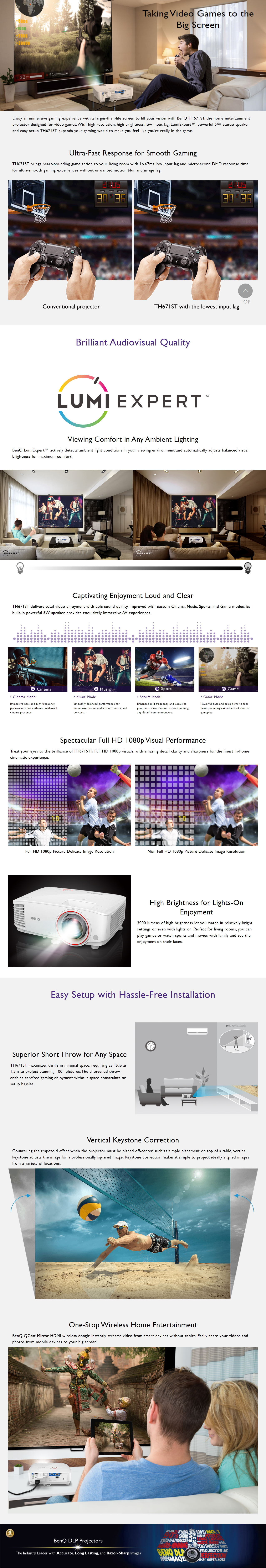 A large marketing image providing additional information about the product BenQ TH671ST 3000LM Full HD Short Throw Projector - Additional alt info not provided