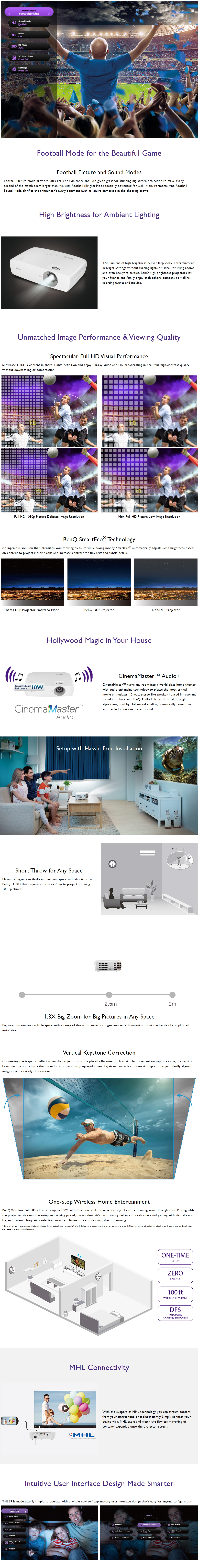 A large marketing image providing additional information about the product BenQ TH683 3200LM Full HD Home Entertainment Projector - Additional alt info not provided
