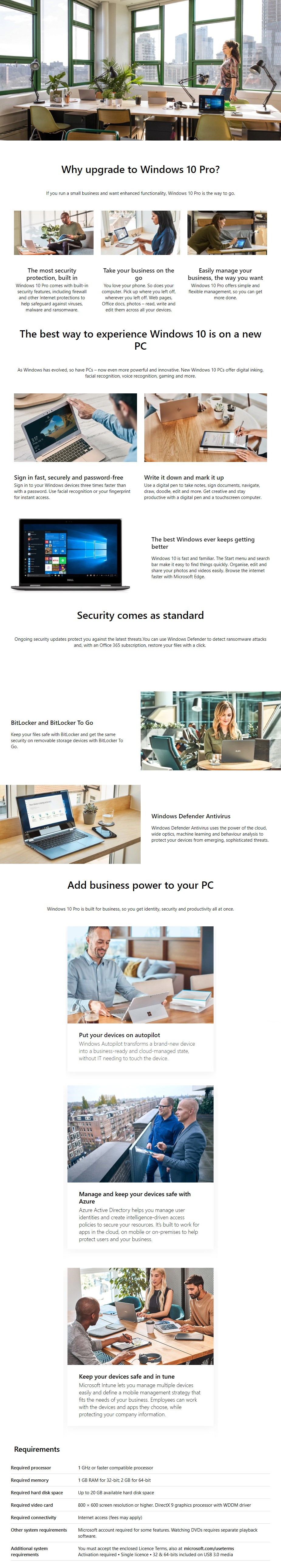 A large marketing image providing additional information about the product Microsoft Windows 10 Professional Retail 32/64-Bit Flash Drive - Additional alt info not provided