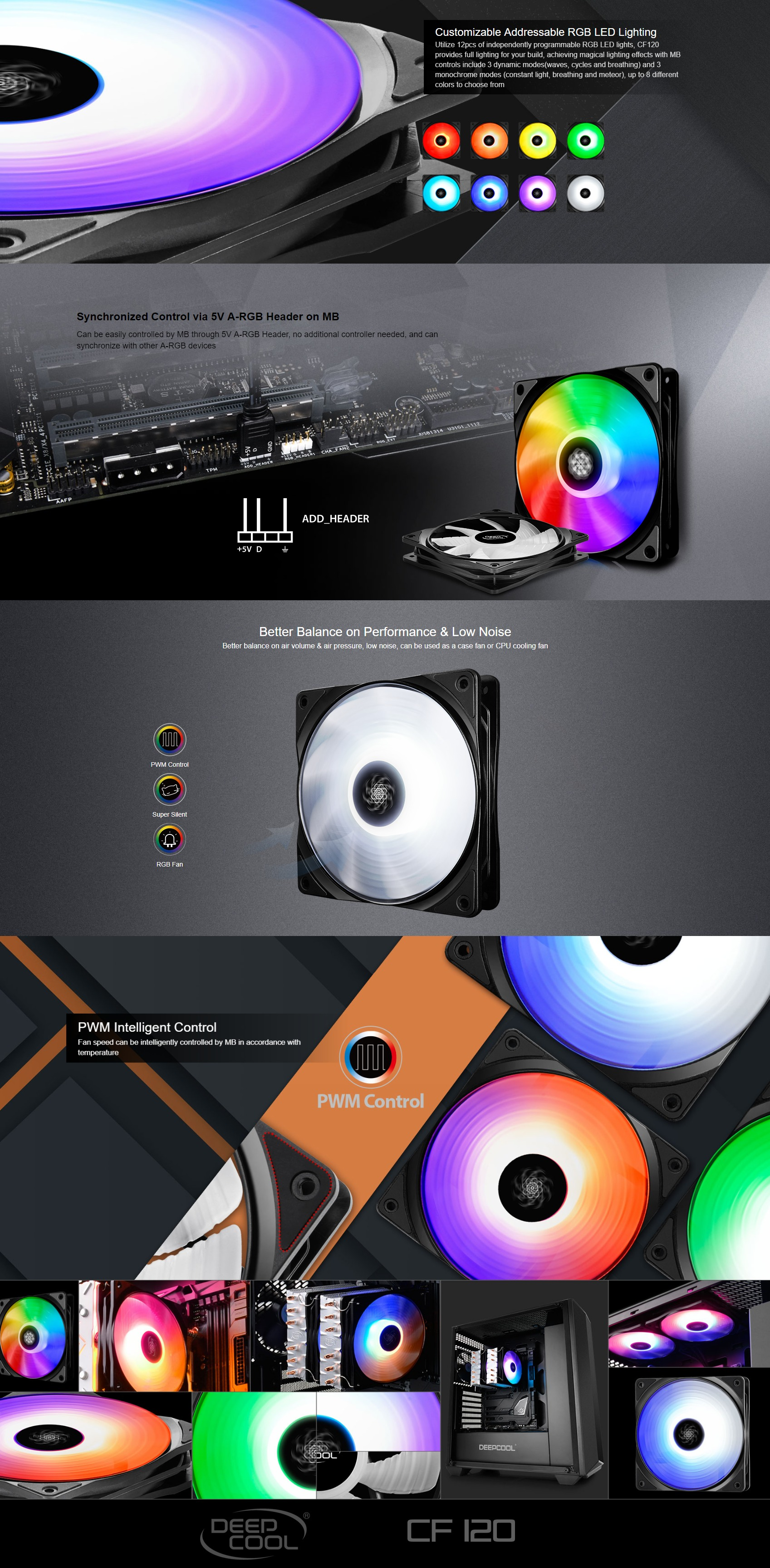 A large marketing image providing additional information about the product Deepcool CF-120 120mm ARGB Fan - Additional alt info not provided