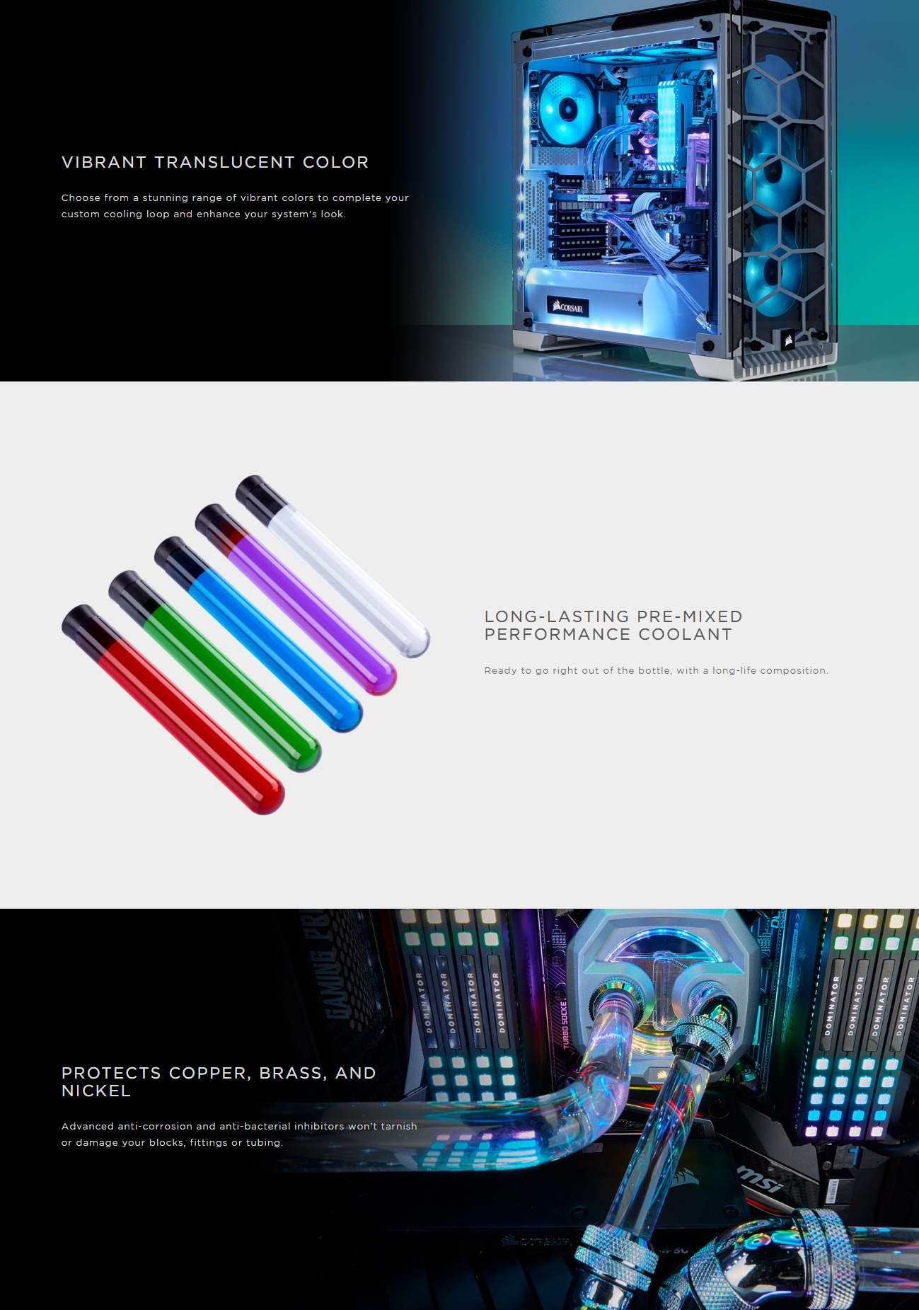 A large marketing image providing additional information about the product Corsair Hydro X Series XL5 Translucent Blue Premix Coolant 1L - Additional alt info not provided