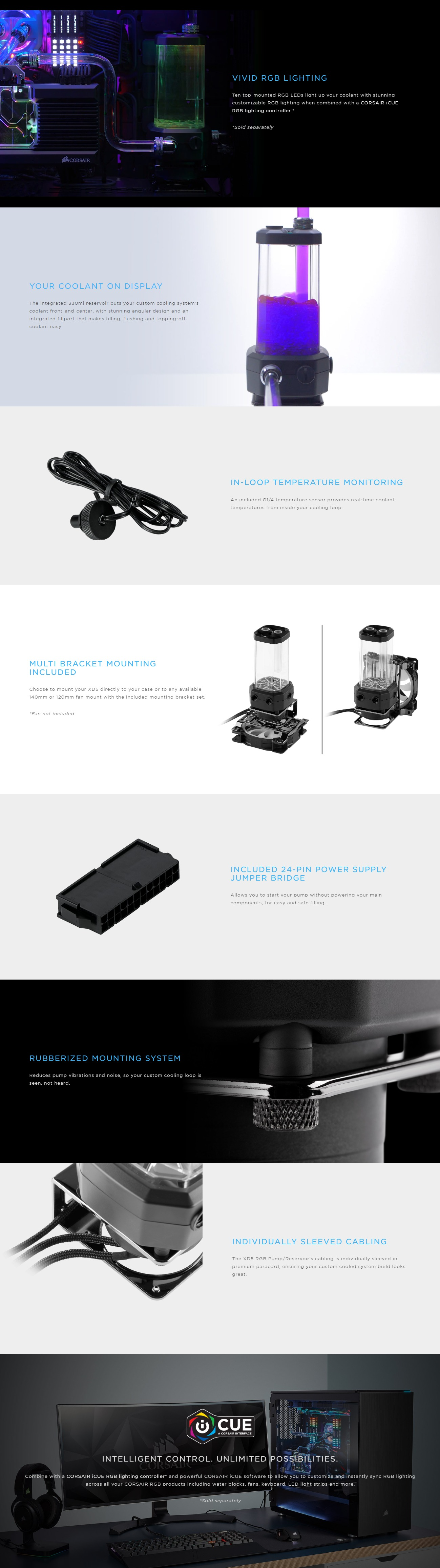 A large marketing image providing additional information about the product Corsair Hydro X Series XD5 RGB Pump/Resevoir Combo - Additional alt info not provided