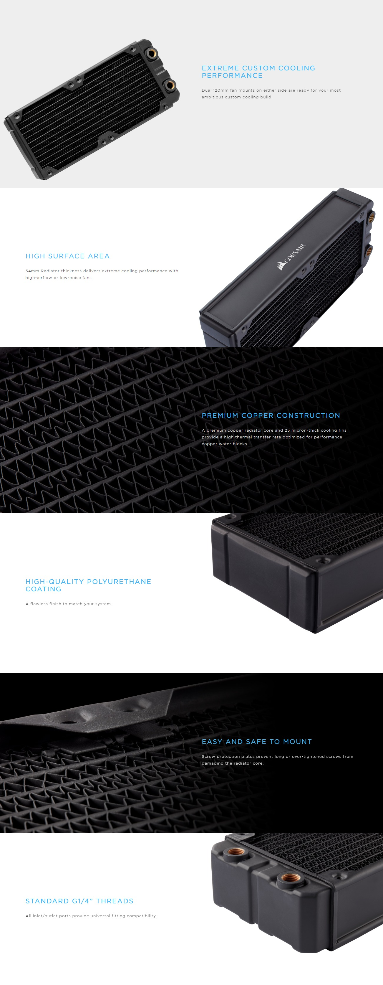 A large marketing image providing additional information about the product Corsair Hydro X Series XR7 360mm Radiator - Additional alt info not provided