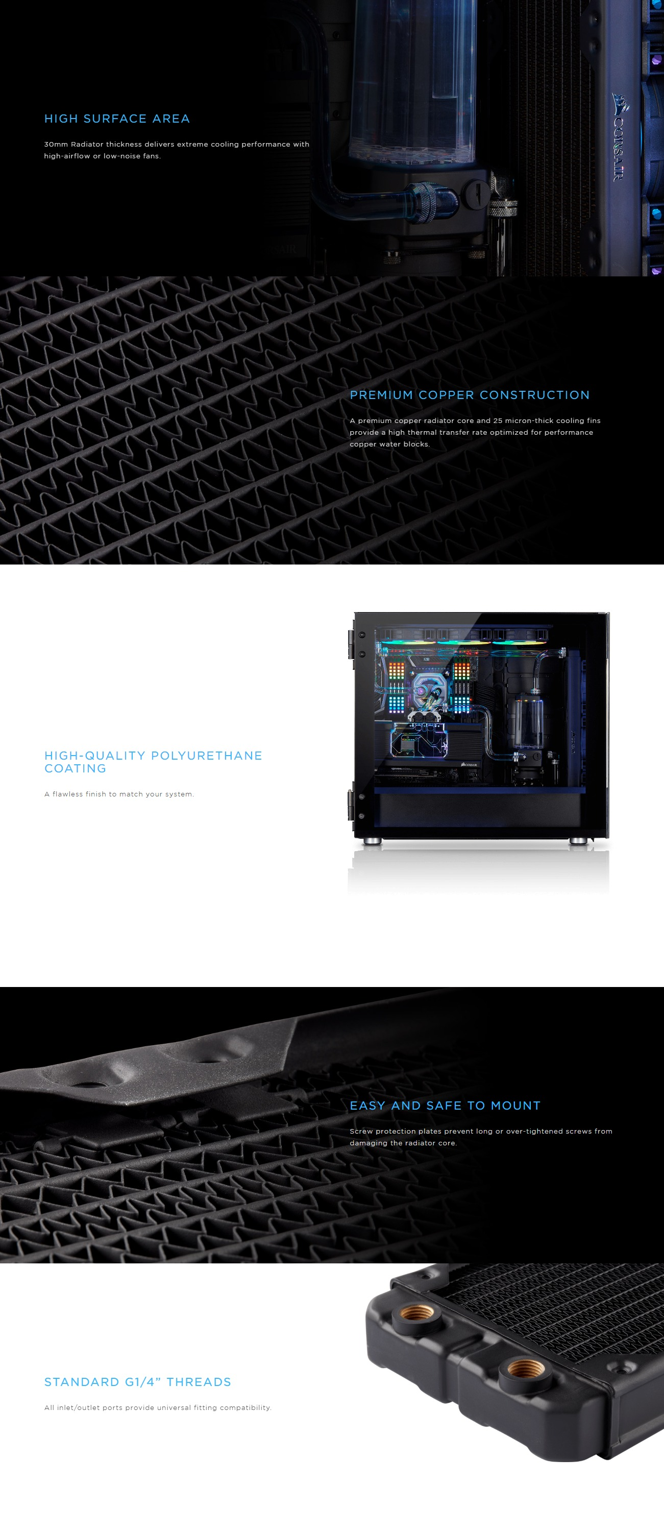 A large marketing image providing additional information about the product Corsair Hydro X Series XR5 360mm Radiator - Additional alt info not provided
