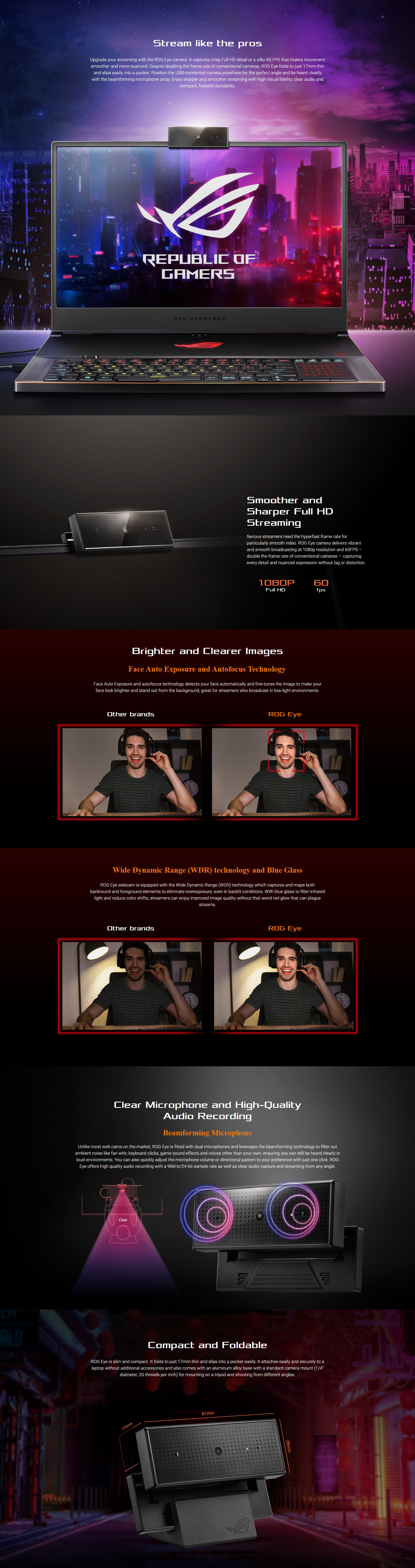 A large marketing image providing additional information about the product ASUS ROG EYE 1080p Streaming Webcam - Additional alt info not provided