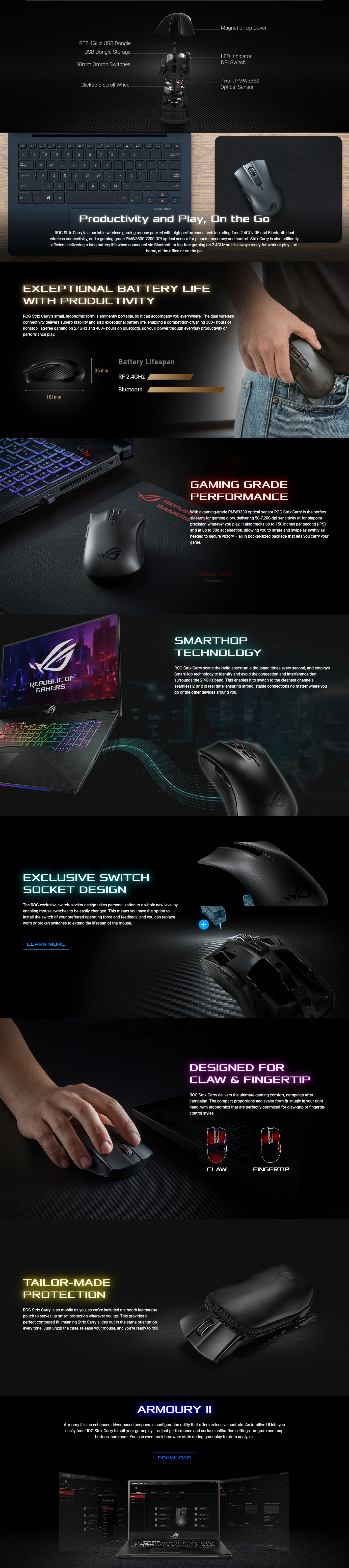 A large marketing image providing additional information about the product ASUS ROG Strix Carry Wireless Gaming Mouse - Additional alt info not provided