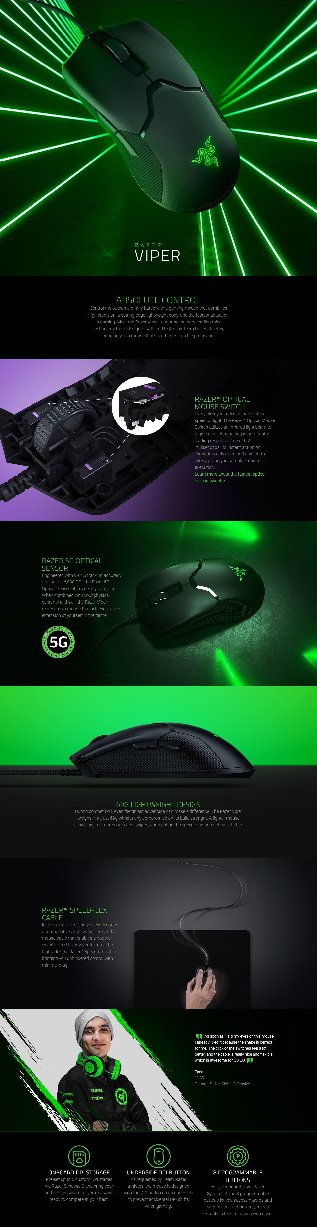 A large marketing image providing additional information about the product Razer Viper Lightweight Chroma RGB Optical Gaming Mouse - Additional alt info not provided