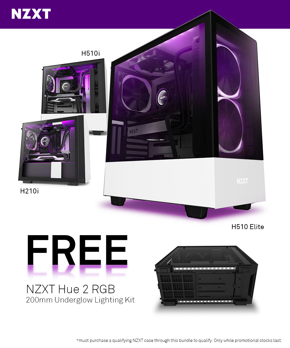 A large marketing image providing additional information about the product NZXT H210i and H510i Underglow Bundle - Additional alt info not provided