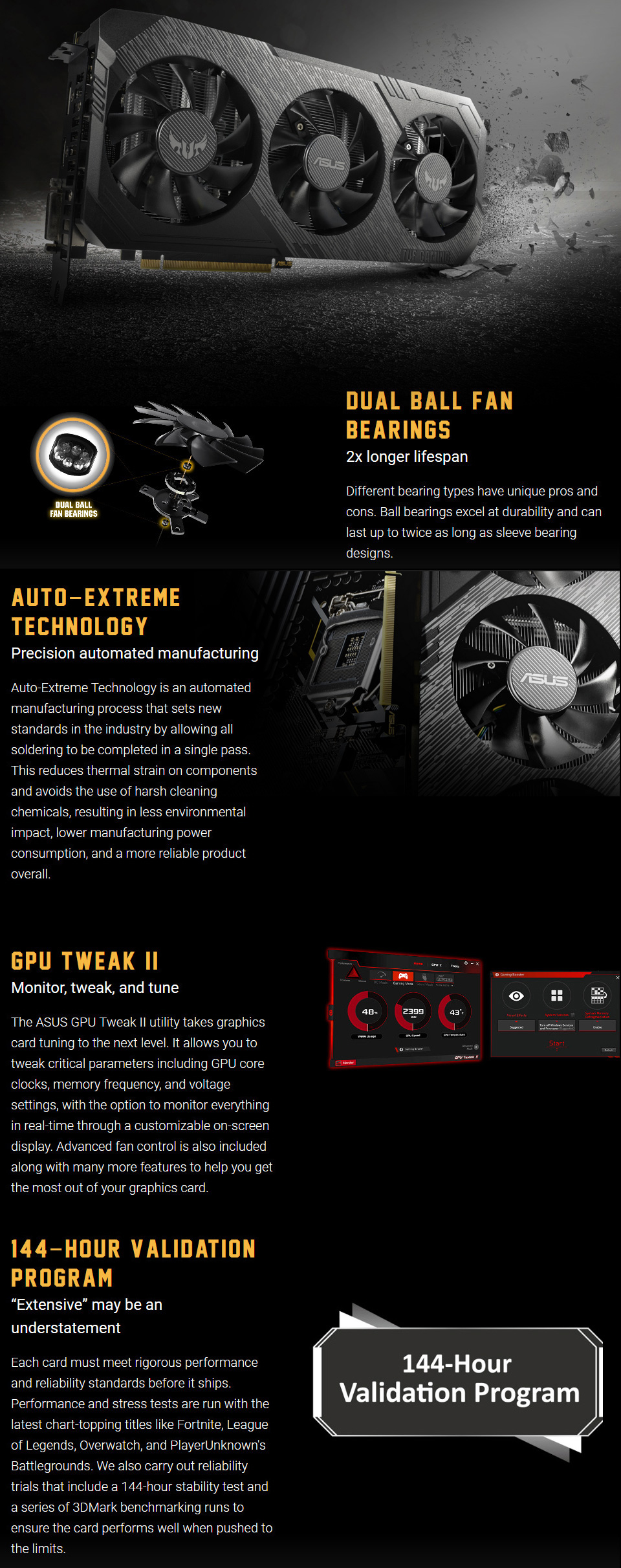 A large marketing image providing additional information about the product ASUS GeForce GTX1660 TUF Gaming X3 6GB GDDR5 - Additional alt info not provided