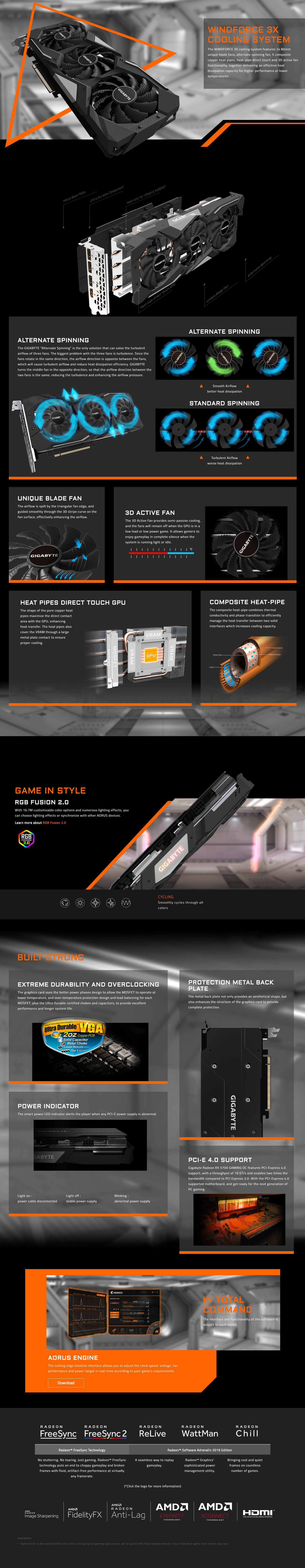 A large marketing image providing additional information about the product Gigabyte Radeon RX 5700 XT GAMING OC 8G - Additional alt info not provided