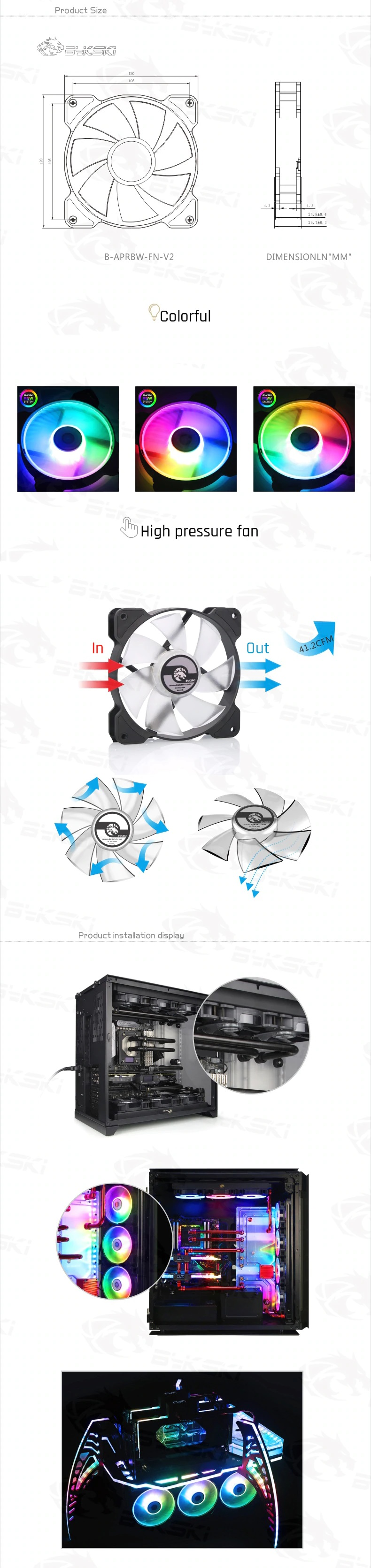 A large marketing image providing additional information about the product Bykski 120mm RBW Black/White Cooling Fan (V2) - Additional alt info not provided