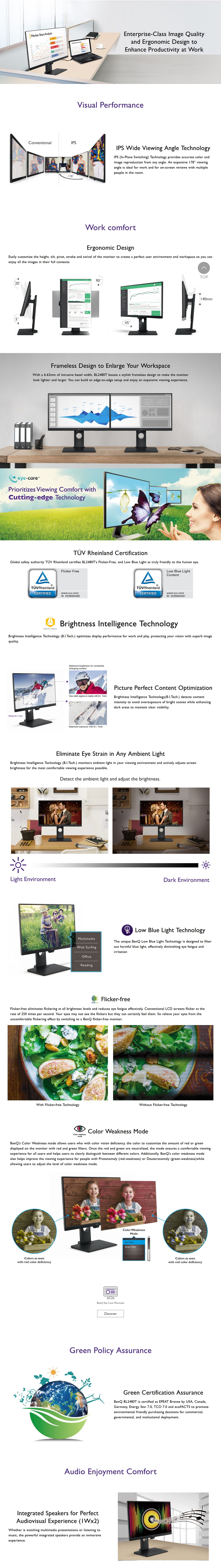 """A large marketing image providing additional information about the product BenQ BL2480T 24"""" Full HD 5MS IPS LED Business Monitor - Additional alt info not provided"""