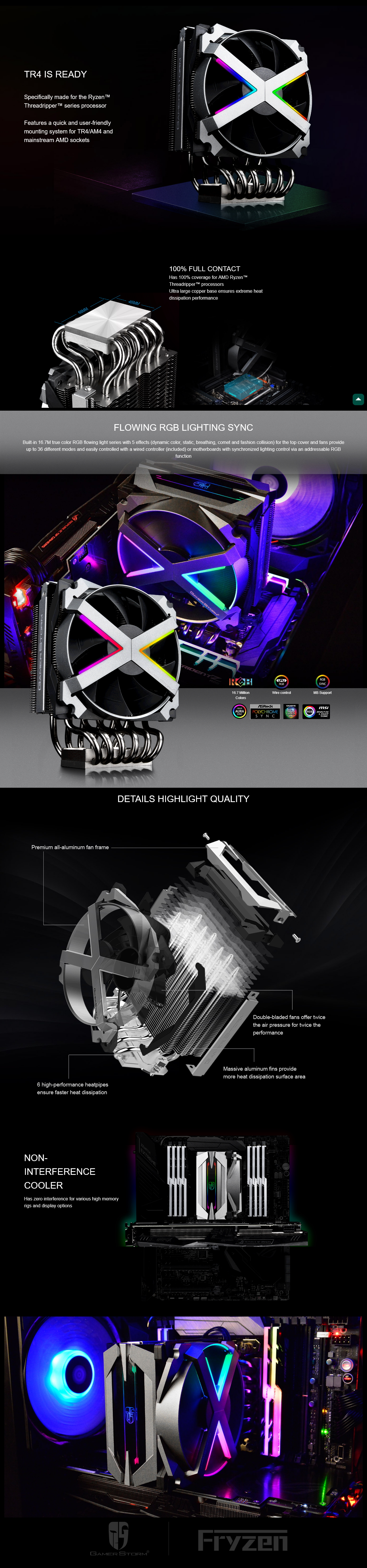 A large marketing image providing additional information about the product Deepcool Fryzen CPU Cooler - Additional alt info not provided