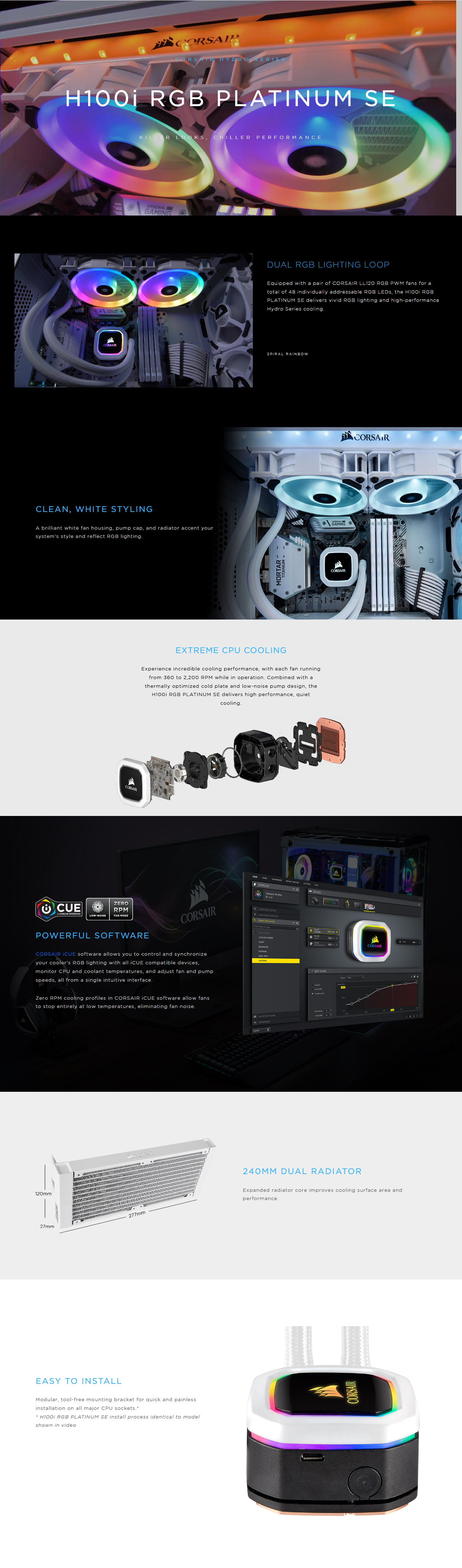 A large marketing image providing additional information about the product Corsair Hydro H100i RGB Platinum SE White 240mm AIO Liquid CPU Cooler - Additional alt info not provided