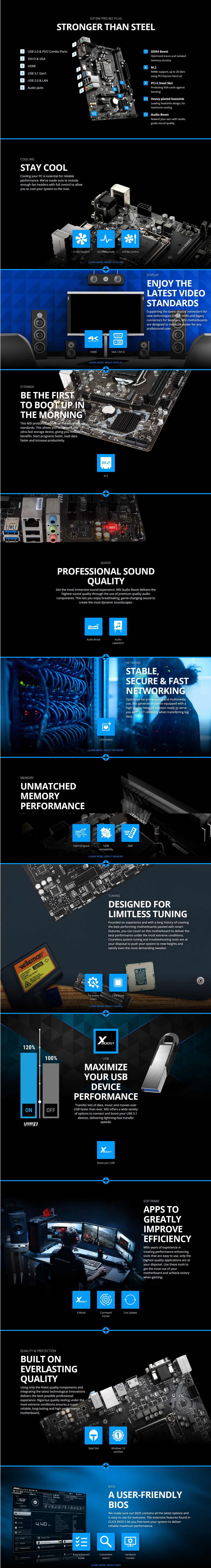 A large marketing image providing additional information about the product MSI H310M Pro-M2 Plus LGA1151-CL mATX Desktop Motherboard - Additional alt info not provided