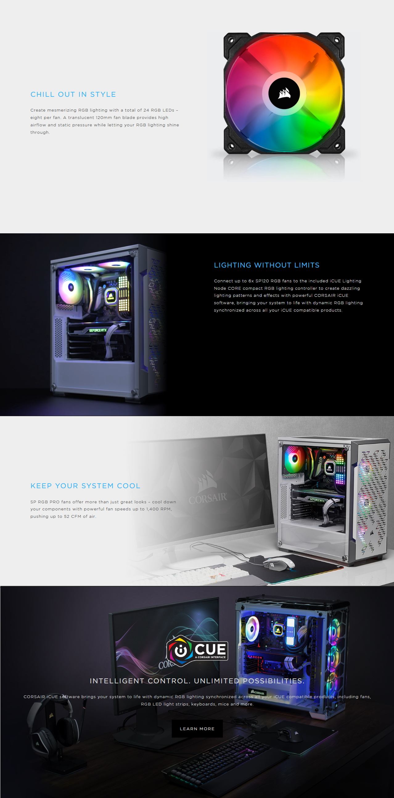 A large marketing image providing additional information about the product Corsair iCue SP120 RGB Pro Performance Fan - Additional alt info not provided