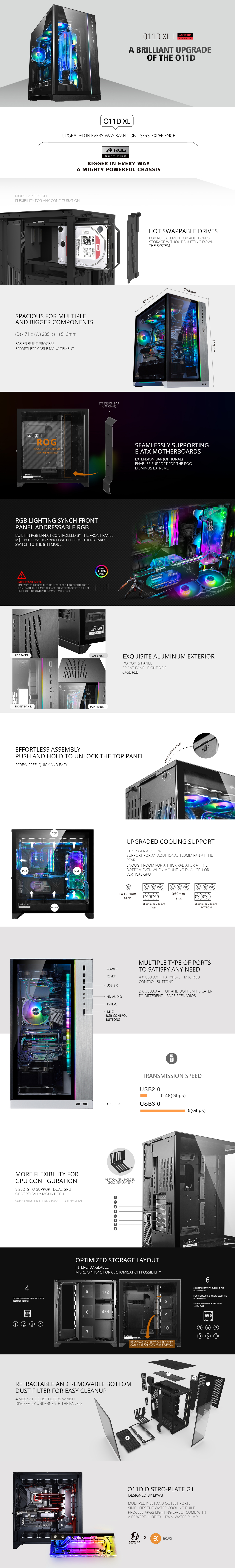 A large marketing image providing additional information about the product Lian-Li PC-O11 Dynamic XL ROG Certified Full Tower Case - Black - Additional alt info not provided