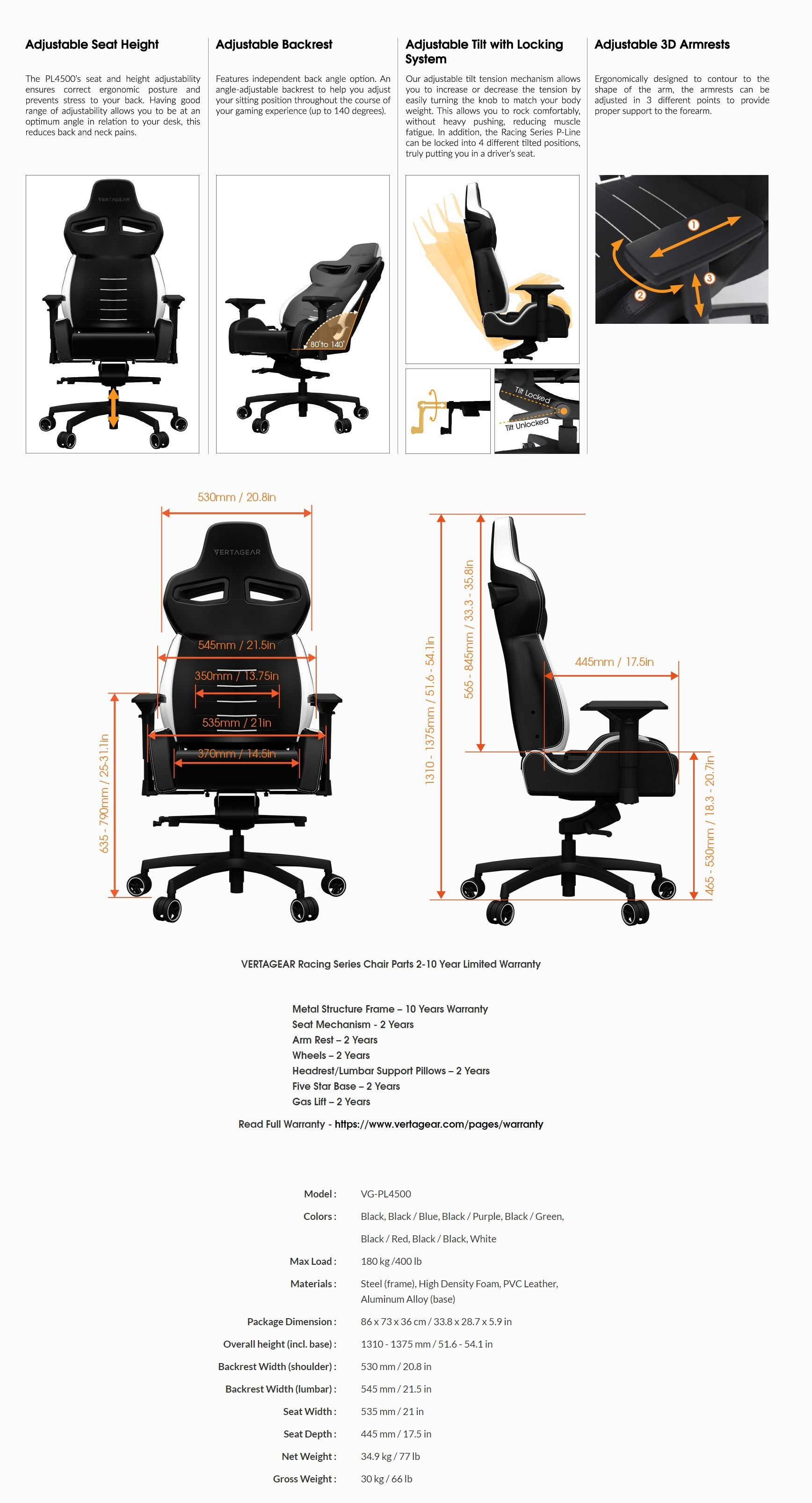 A large marketing image providing additional information about the product Vertagear Racing Series P-Line PL4500 Coffee Fiber with Silver Embroirdery Gaming Chair Black/Purple Edition(LED/RGB Upgradable) - Additional alt info not provided
