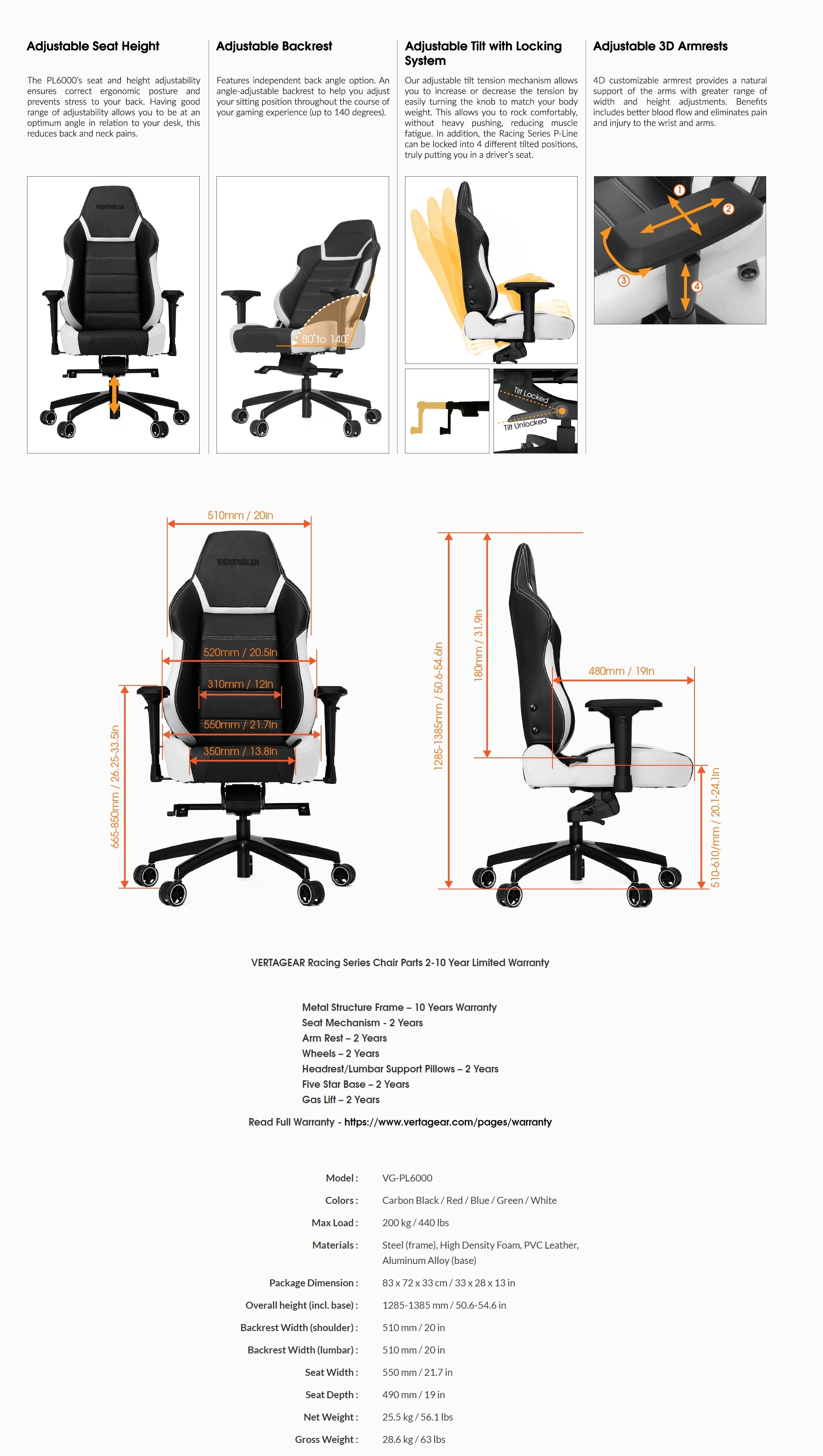 A large marketing image providing additional information about the product Vertagear Racing Series P-Line PL6000 Gaming Chair Black/White Edition - Additional alt info not provided