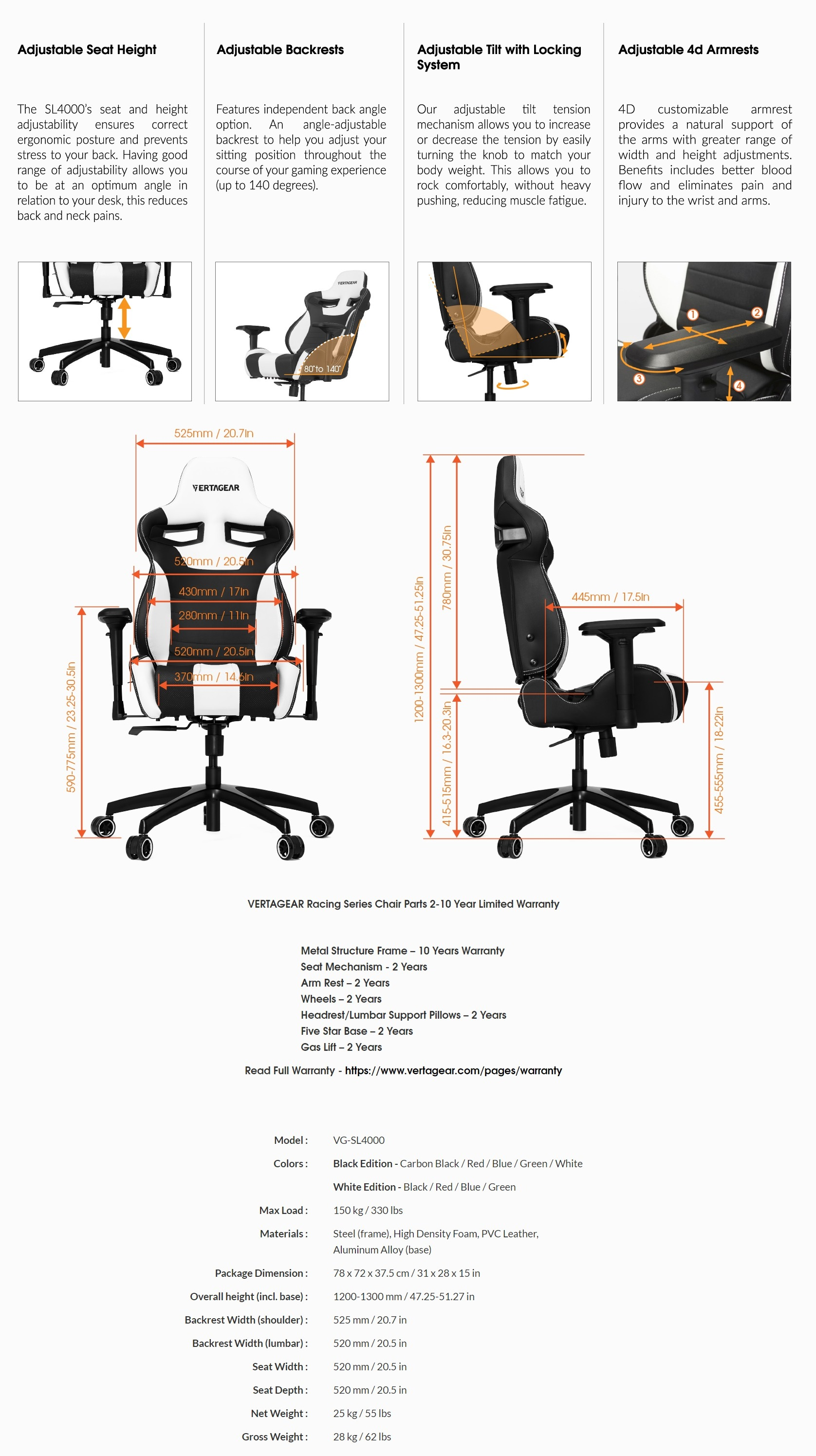 A large marketing image providing additional information about the product Vertagear Racing Series S-Line SL4000 Gaming Chair White/Green Edition - Additional alt info not provided