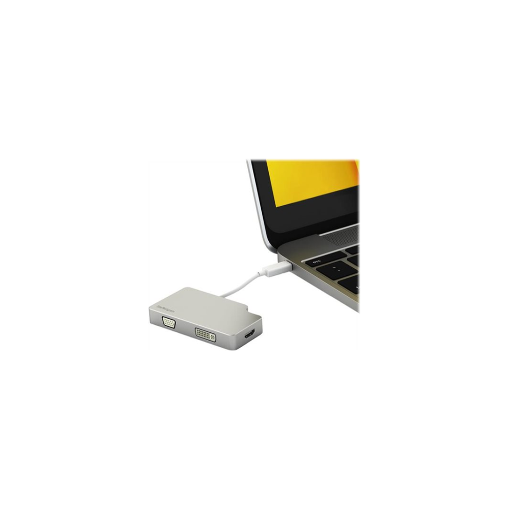 A large main feature product image of Startech 3-in-1 Video Converter - mDP to VGA, DVI or HDMI - UHD 4K