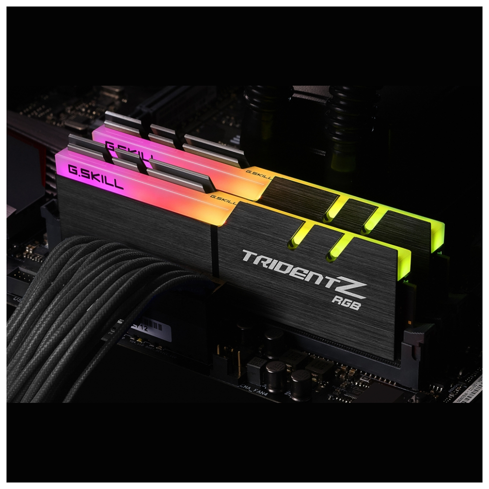 A large main feature product image of G.Skill 16GB Kit (2x8GB) DDR4 Trident Z RGB 2400MHz C15