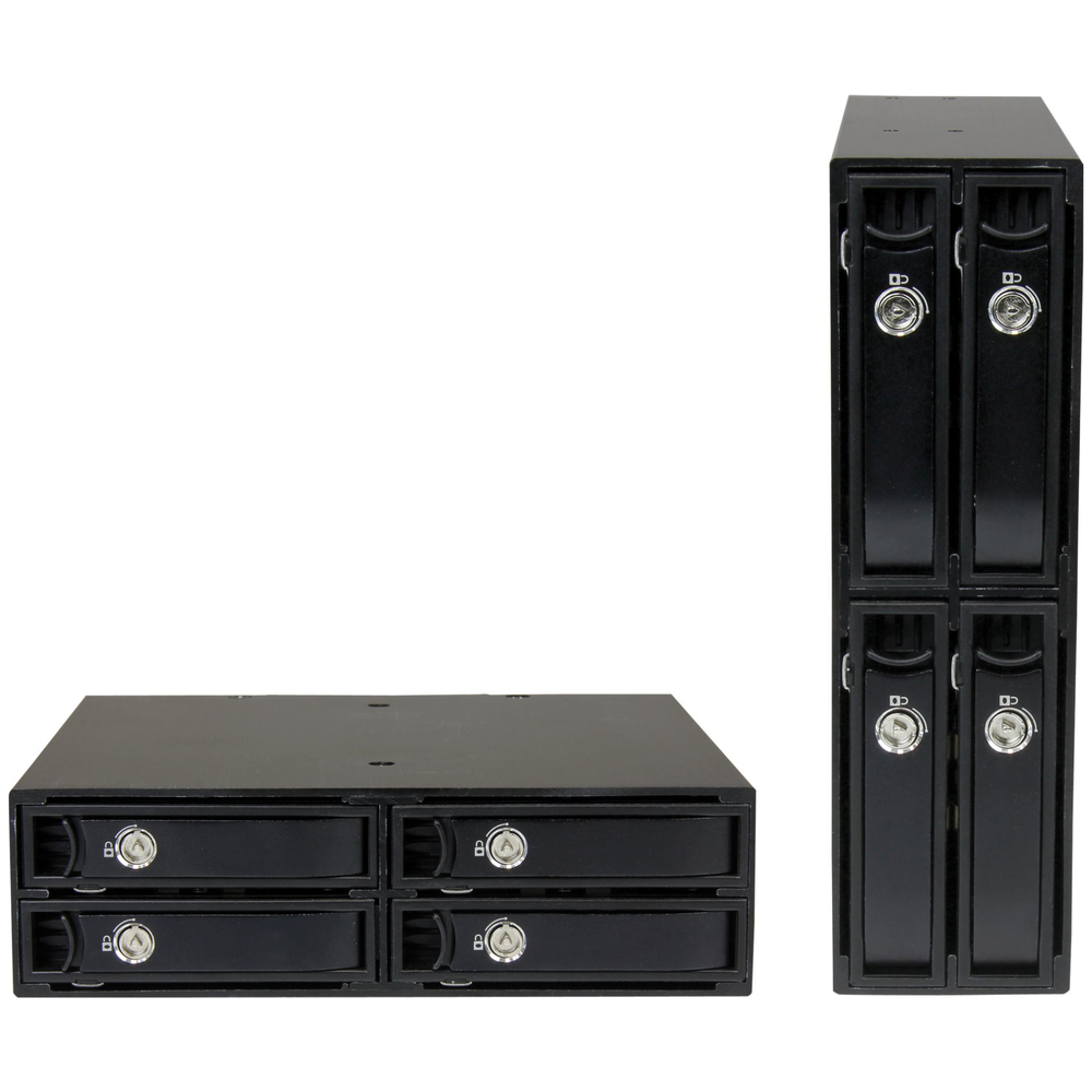 A large main feature product image of Startech Install 4 SSDs/HDDs into one 5.25in bay - for 5-15mm drives