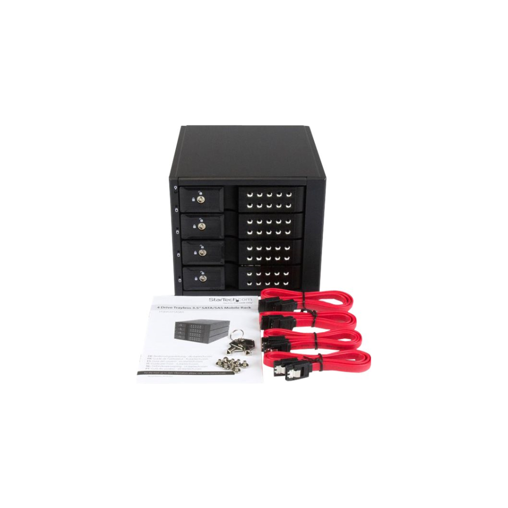 """A large main feature product image of Startech 4 Bay 3.5"""" SATA/SAS HDD Trayless Mobile Rack Backplane w/Fan"""