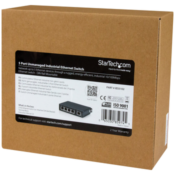 Product image of Startech 5-Port Unmanaged Network Switch - DIN Rail Mount - IP30 Rated - Click for product page of Startech 5-Port Unmanaged Network Switch - DIN Rail Mount - IP30 Rated