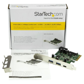 Product image of Startech 5Port USB 3.1 Host Controller with USB-C - PCIe USB 3 Card - Click for product page of Startech 5Port USB 3.1 Host Controller with USB-C - PCIe USB 3 Card