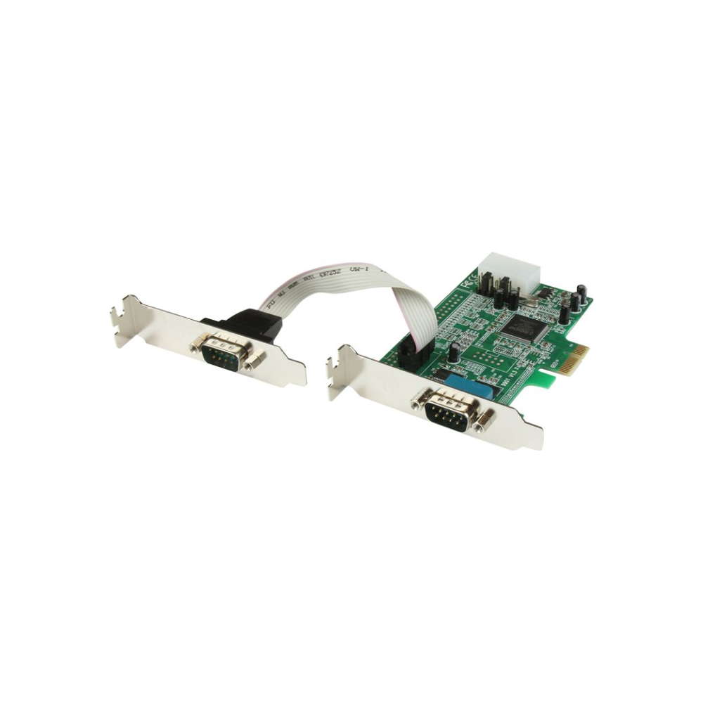 A large main feature product image of Startech 2 Port Low Profile Native RS232 PCI Express Serial Card