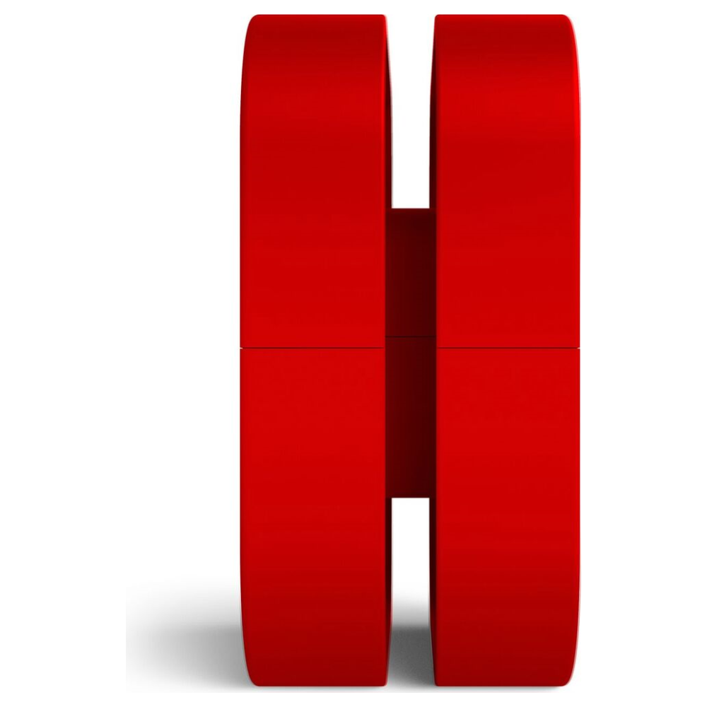 A large main feature product image of NZXT Puck Headset Hanger Red